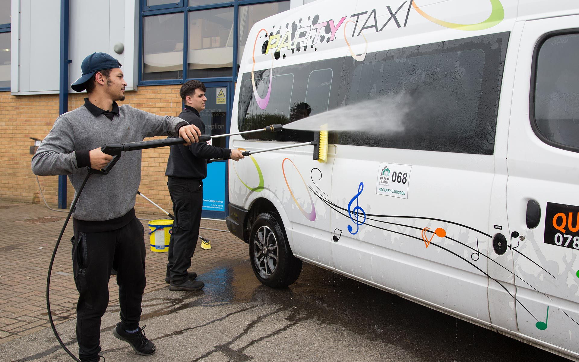 Washing cars and valeting is taught at East Sussex College Hastings Automotive Centre